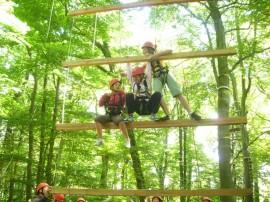 Kinder beim Klettern im Wald, hier auf der Himmelsleiter